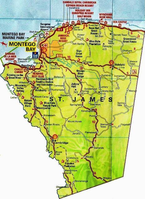 St. James Jamaica Map
