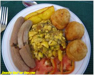 Ackee and Saltfish with Fried Dumplins