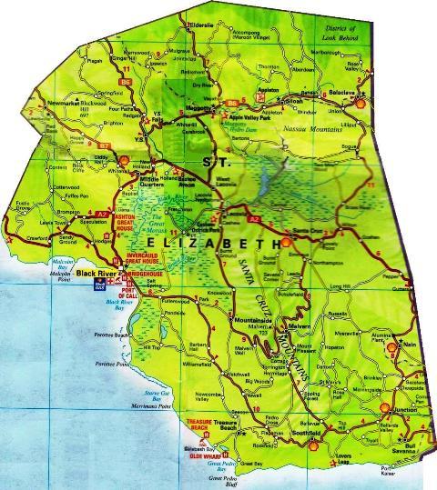 St. Elizabeth Jamaica Map
