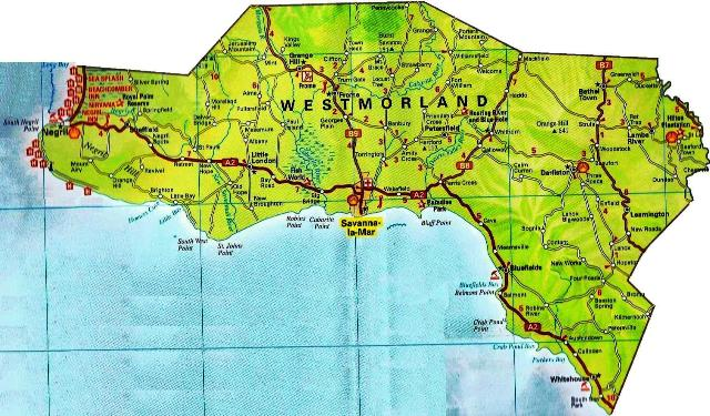 Map of Westmoreland Jamaica